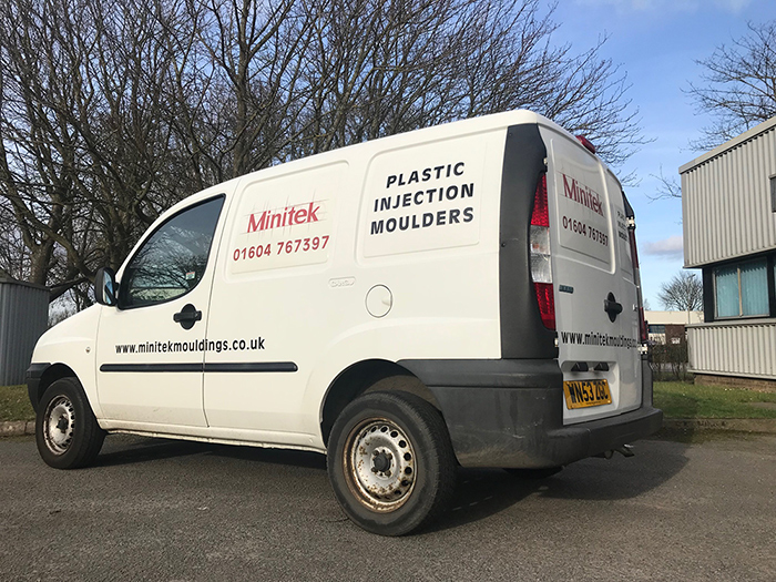 The Minitek Mouldings van outside the Northampton factory